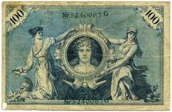 Vintage German banknote. A closeup of a wrinked vintage German banknote circa. 1908 Stock Images