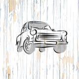 Vintage german car on wooden background stock illustration