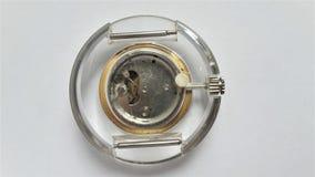 Vintage German watches RUHLA plastic Skeleton reverse side. Transparent plastic case, visible mechanism. Vintage German watches RUHLA plastic Skeleton reverse royalty free stock photo