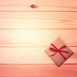 Vintage gift box with blank tag Royalty Free Stock Photo