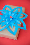Vintage gift box with bow blue paper Royalty Free Stock Image