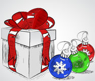 Vintage gift box with bow and christmas balls , vector sketchy illustration , hand - drawn Stock Images