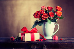 Vintage gift box and flowers Royalty Free Stock Image