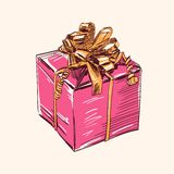 Vintage gift box  illustration Royalty Free Stock Images