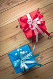 Vintage gift box on old wooden background Royalty Free Stock Photos