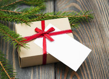 Vintage gift box package with blank  tag Royalty Free Stock Photos