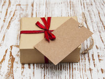 Vintage gift box package with blank  tag Stock Image
