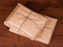 Vintage gift box package on wooden background Royalty Free Stock Photo
