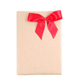 Vintage gift box with red ribbon bow. On white background Stock Photography