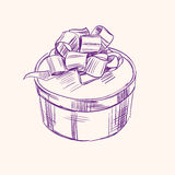 Vintage gift box vector illustration  sketch Royalty Free Stock Photography