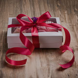 Vintage gift box on wooden background Royalty Free Stock Image