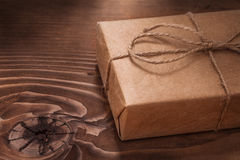 Vintage gift box on wooden boards Stock Photos