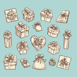 Vintage gift boxes collection on green stock illustration