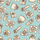 Vintage gift boxes seamless pattern design stock illustration