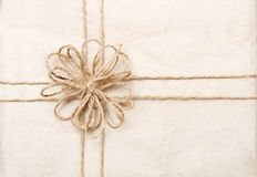 Vintage Gift Card With Ribbon On Paper Wrap Royalty Free Stock Image
