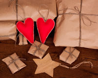 Vintage gift package and hearts. Stock Images
