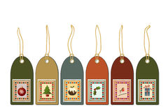 Vintage gift tags. Christmas gift tags with postage stamp icons. Vintage style Stock Photos