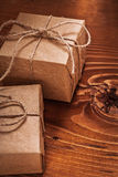 Vintage giftboxes on old wooden board Stock Photography