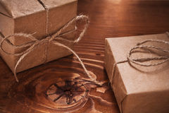 Vintage gifts on old wooden boards Stock Image