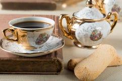Vintage gilded porcelain tableware Royalty Free Stock Photo