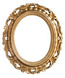 Vintage gilded round frame with an ornament isolated on white. Retro style stock photos