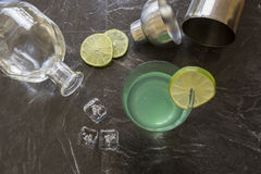 Vintage Gin Gimlet cocktail with shaker Stock Image