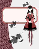 Vintage girl. Vintage card with gothic girl Stock Photos
