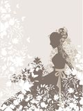 Vintage girl. Vintage background with flowers and bride silhouette Royalty Free Stock Photos