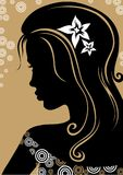 Vintage girl. Silhouette with flower vector illustration