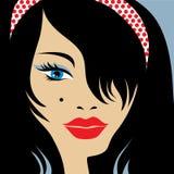 Vintage girl. Vintage beautiful brunette girl with make-up Stock Photos