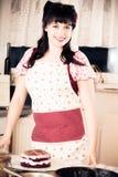 Vintage Girl Baking A Cake Stock Photography