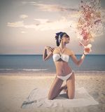 Vintage girl at the beach Royalty Free Stock Photo