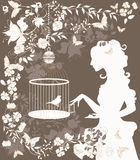 Vintage girl and bird. Vintage background with flowers, bird and girl silhouette Stock Photos