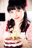 Vintage Girl With Birthday Cake Stock Images