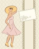 Vintage girl with card, sketch style Royalty Free Stock Images