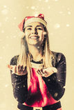 Vintage girl celebrating a white Christmas Royalty Free Stock Image