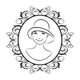 Vintage girl face in hat Royalty Free Stock Photos