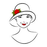 Vintage girl face in hat with rose Stock Images
