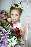 Vintage Girl with Flowers Royalty Free Stock Photos
