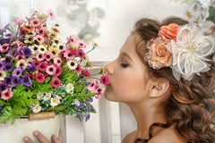 Vintage Girl with Flowers Royalty Free Stock Image