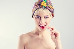 Vintage girl give sensual look Royalty Free Stock Photo