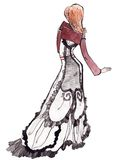 Vintage Girl Illustration. A woman wearing a vintage flowing dress Royalty Free Stock Photo