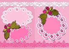 Vintage girl kids scrapbook elements card Stock Photos