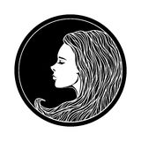 Vintage Girl Portrait in Circle Frame Royalty Free Stock Photo