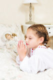 Vintage girl praying Stock Photography
