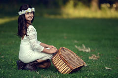 Vintage girl ready for a picnic Stock Photo