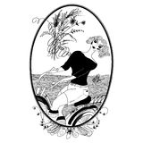 Vintage girl rides a bicycle. Vector. Set of illustrations. Gree Stock Image