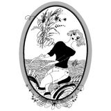 Vintage girl rides a bicycle. Vector Set of illustrations. Royalty Free Stock Photo