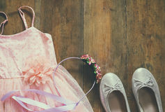Vintage girl's dress, floral tiara and ballet shoes Stock Images