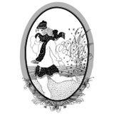 Vintage girl skates.  Set of illustrations. Stock Images